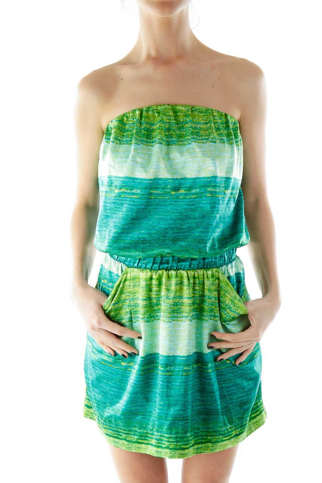 Green Strapless Pocketed Day Dress