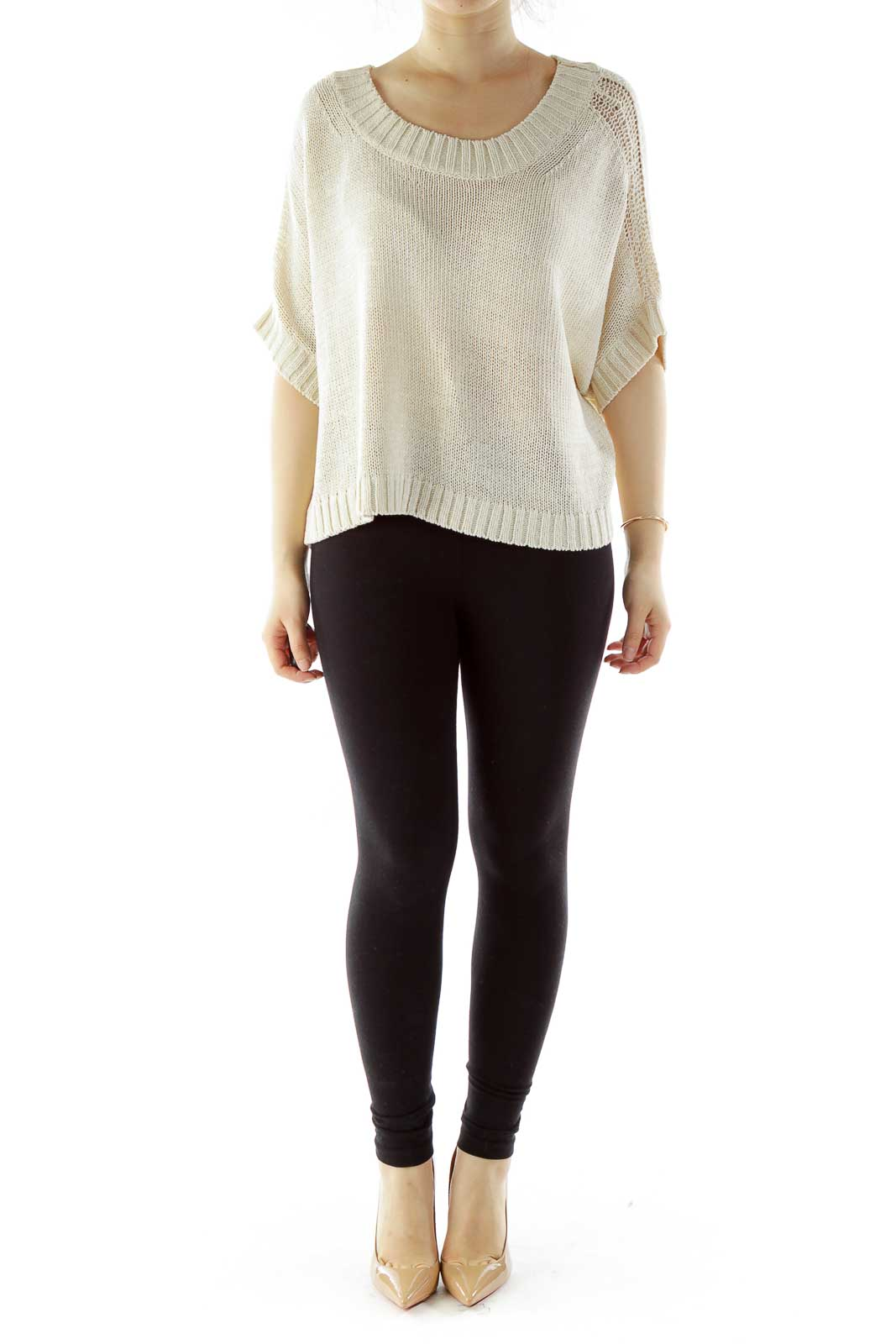 Cream Oversized Knit Top
