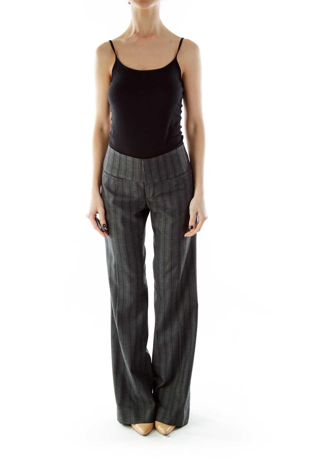 Gray Black Striped Wide-Leg Pants