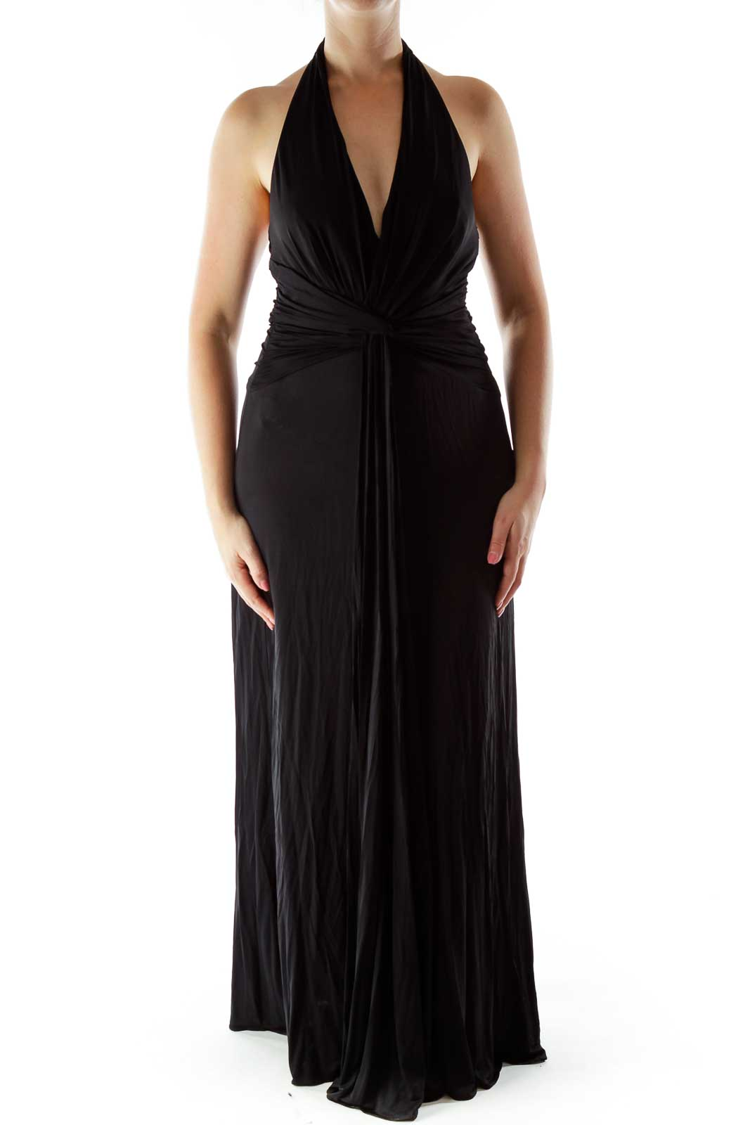 Black Draped Halter Evening Dress