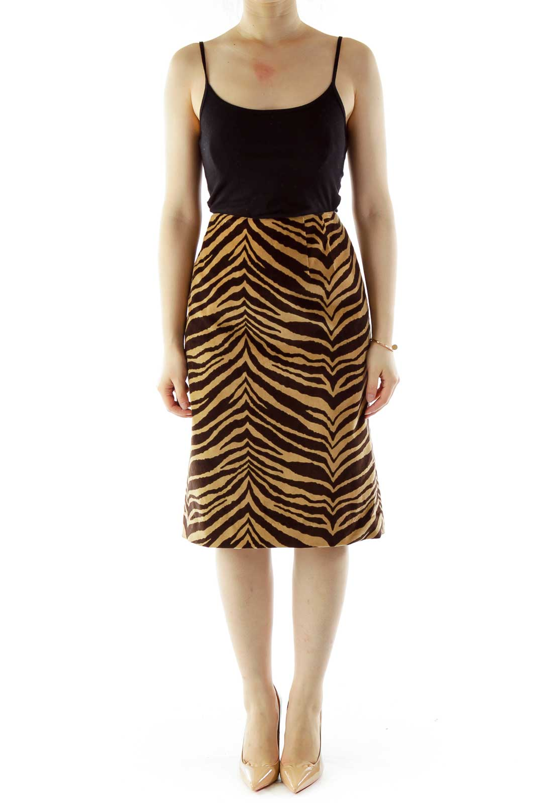 Brown Zebra Print Pencil Skirt