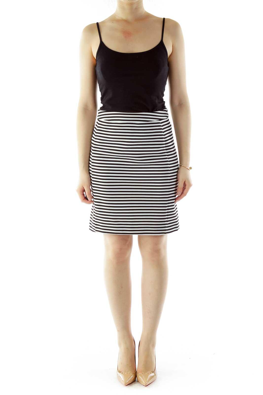 Black White Striped Textured Skirt