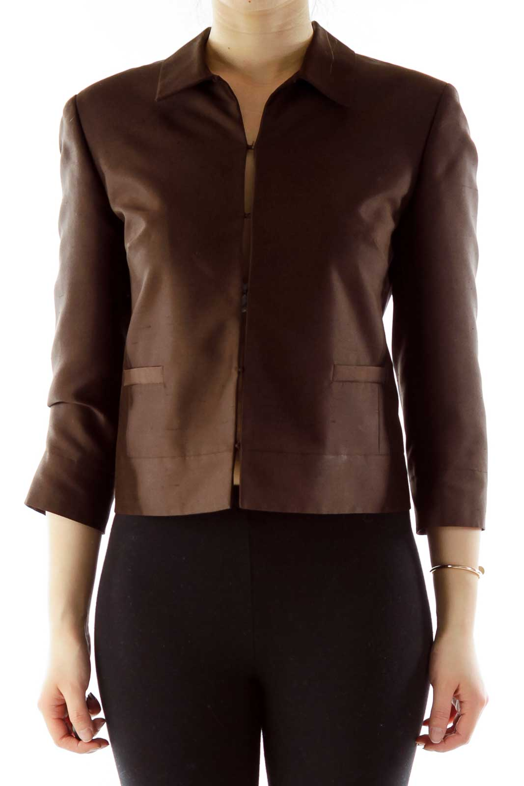 Brown Buttoned Three-Quarter Sleeve Jacket