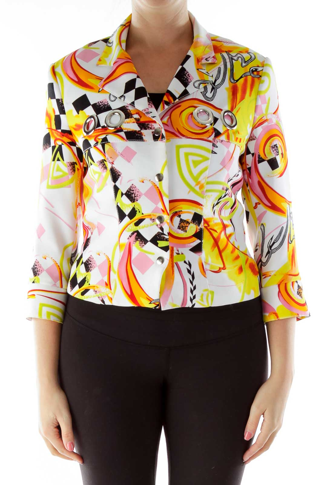 Multicolor Buttoned Print Jacket with Hoop Detail