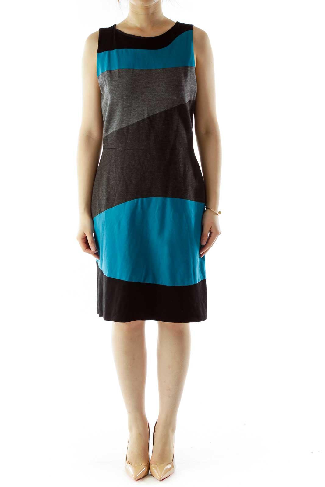 Black Gray Blue Color Block Work Dress