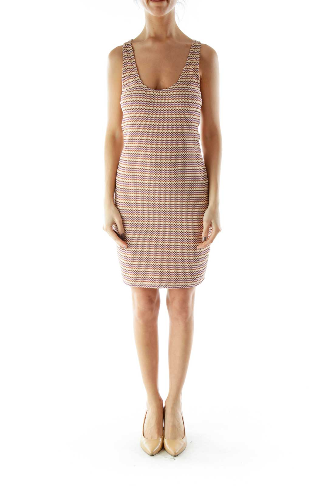 Multicolor Textured Elastic Day Dress