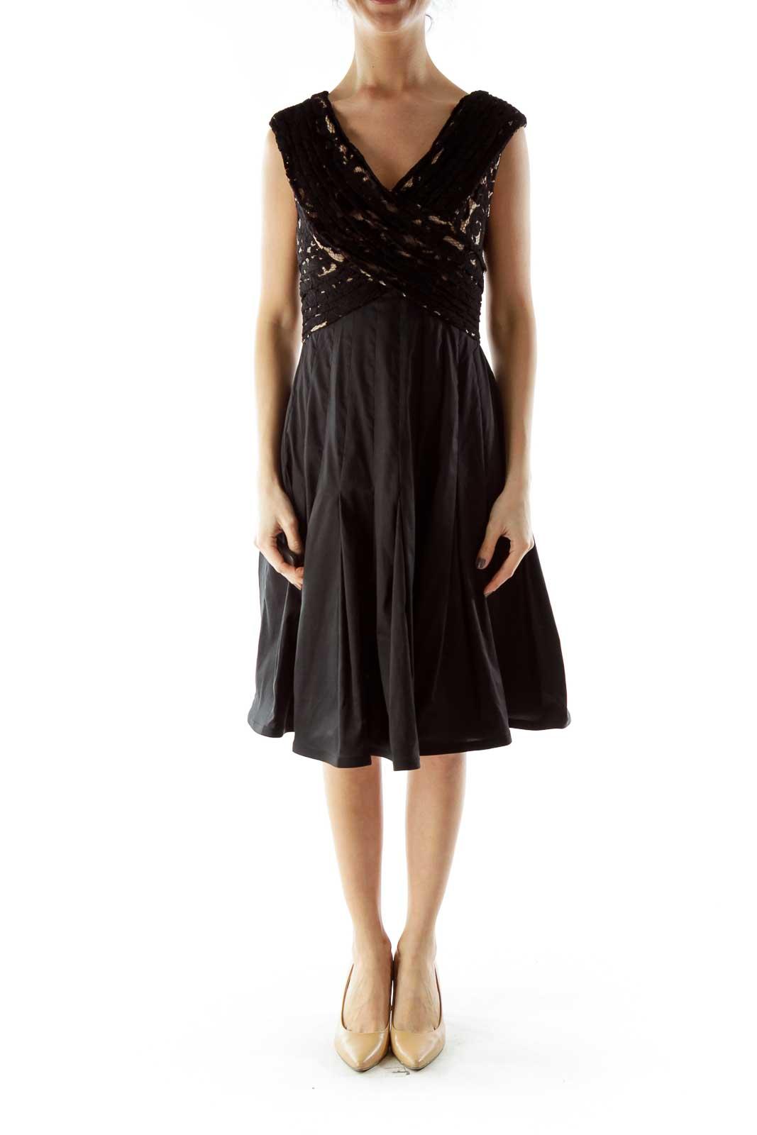 Black Lace Detail Cocktail Dress