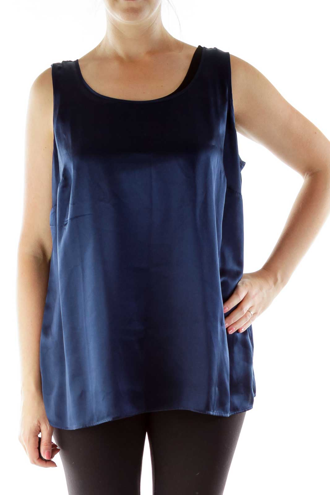 Navy Silk Sleeveless Blouse