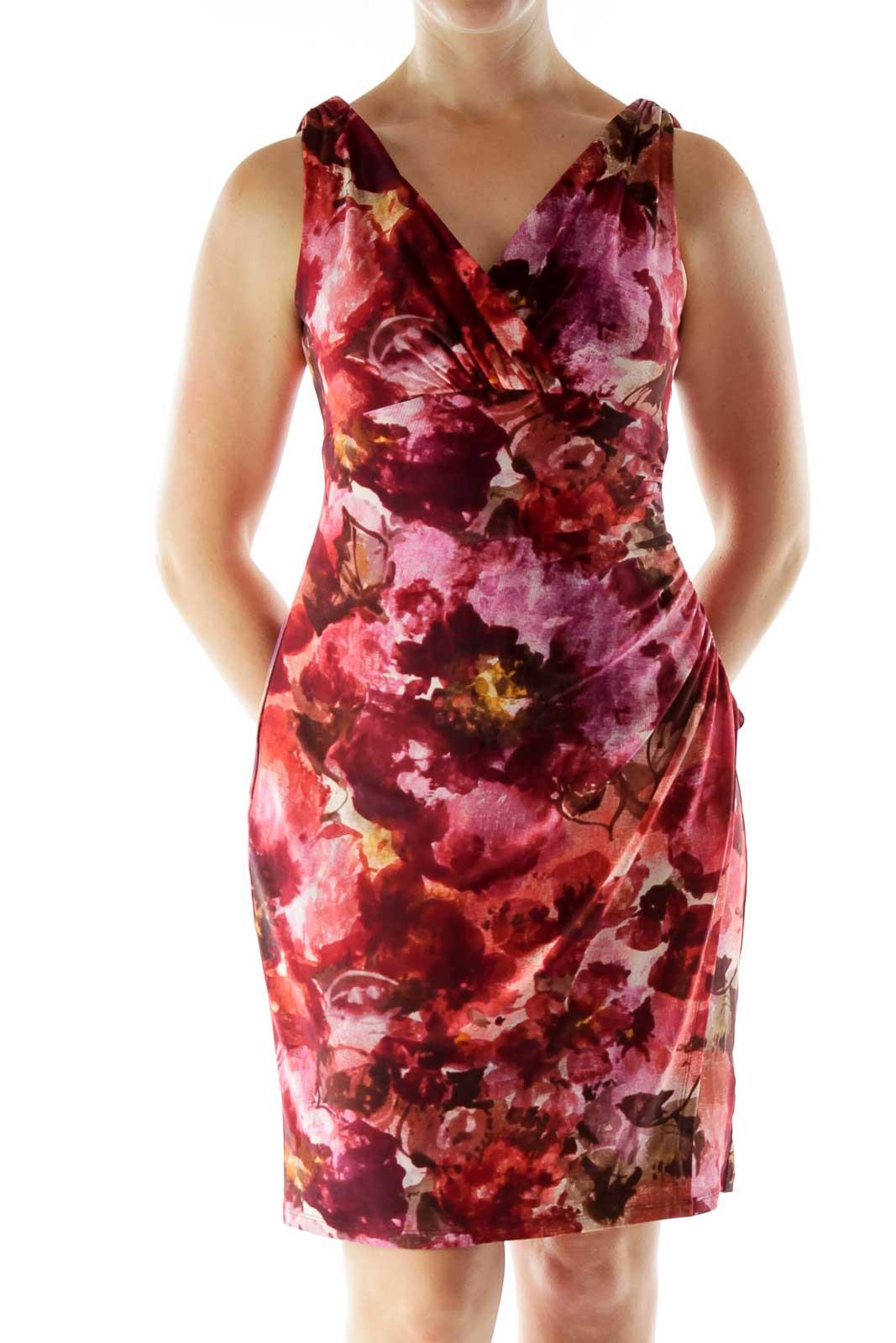 Purple Printed Work Dress