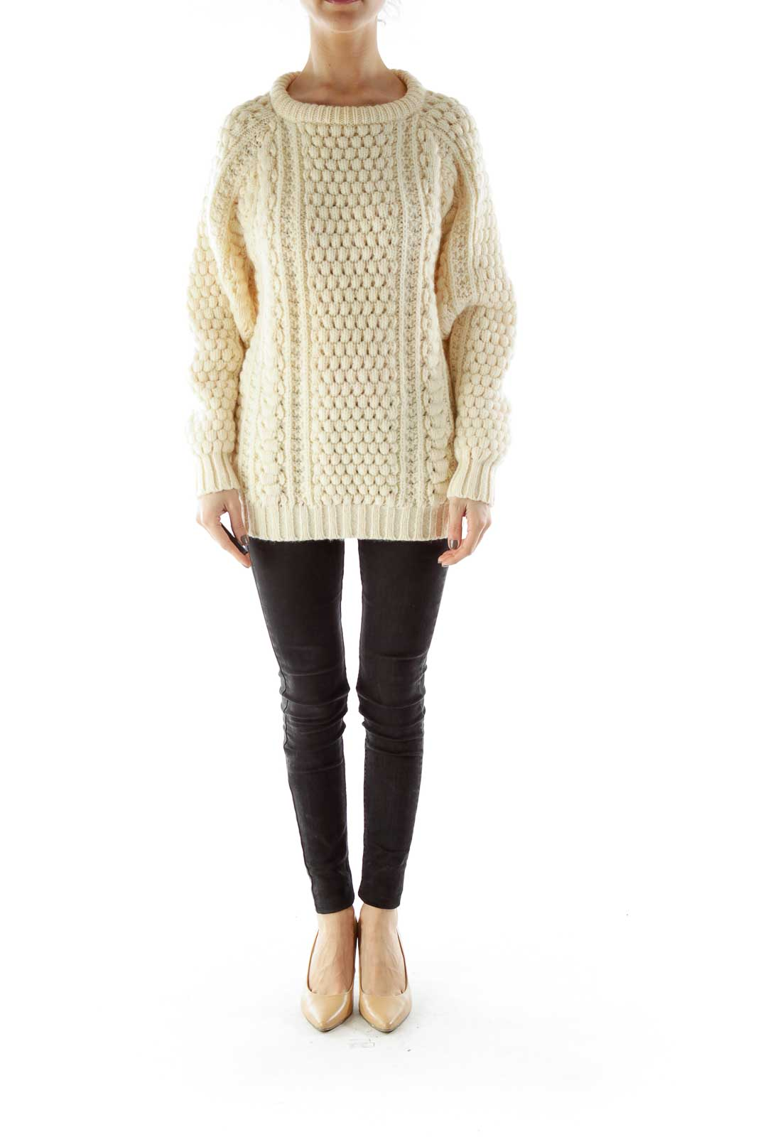 Cream Wool Knit Sweater
