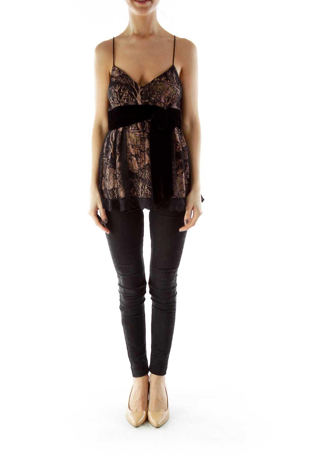 Black Tan Lace Top with Velvet Belt