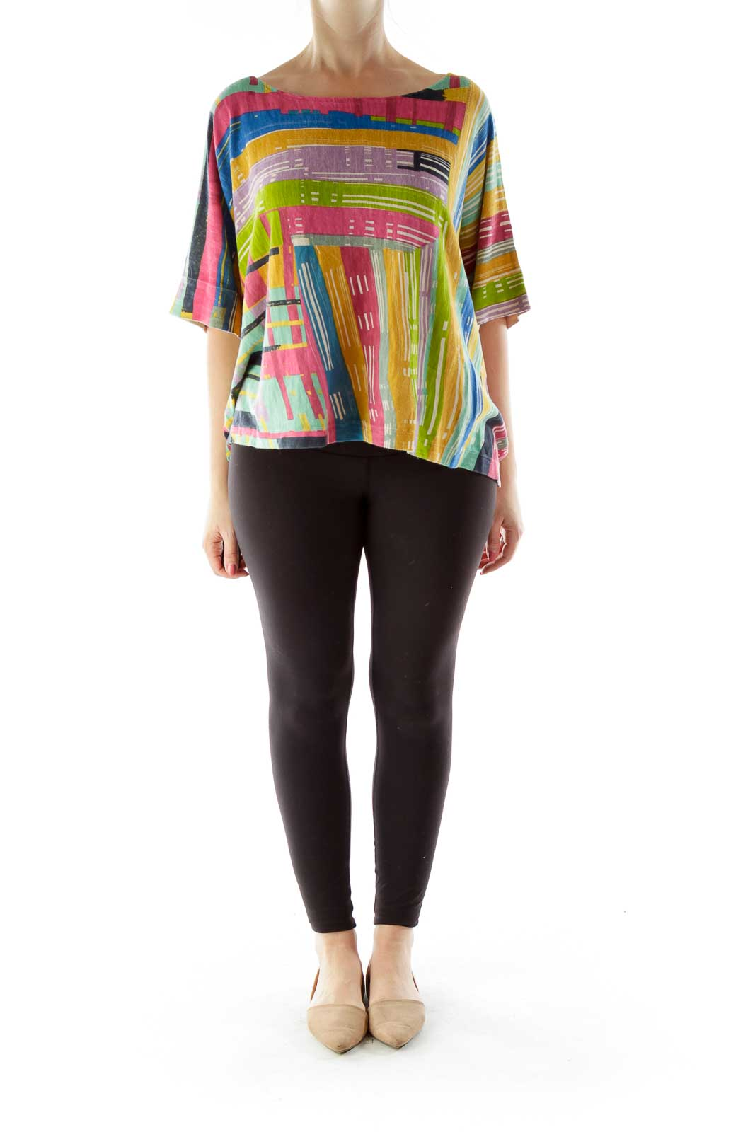 Multicolor Bat Sleeve Knit Top