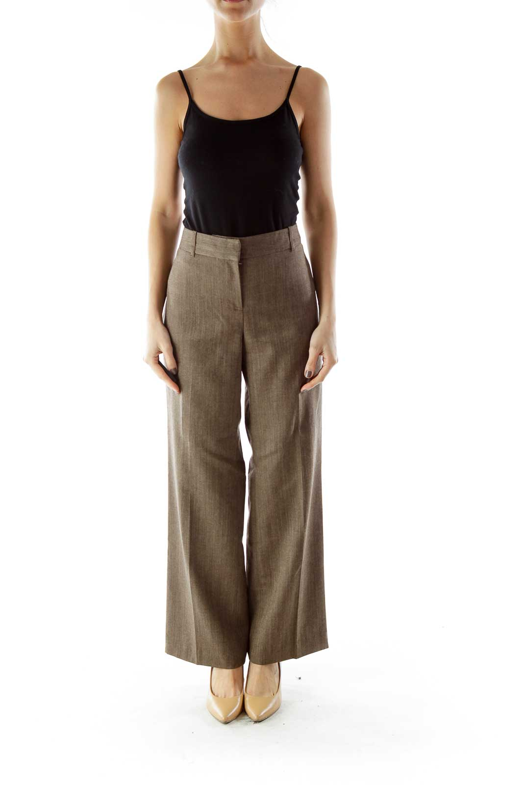 Brown Linen Texture Pants