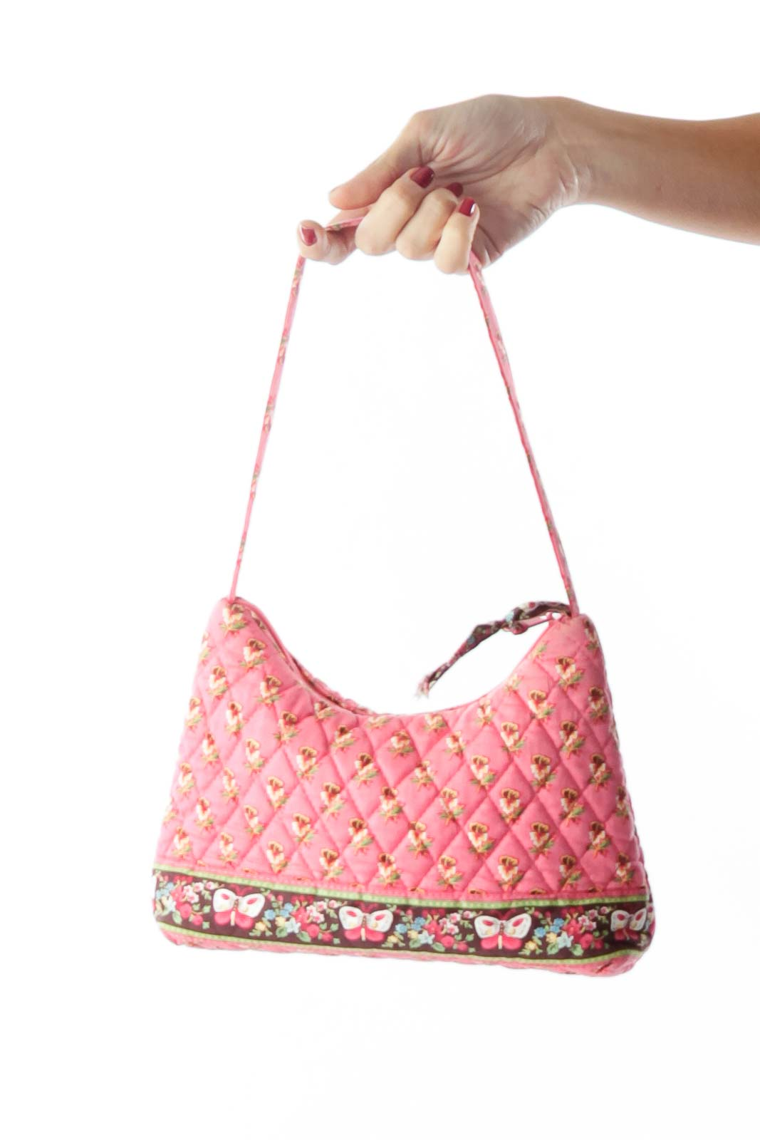 Pink Brown Flower Print Quilted Shoulder Bag