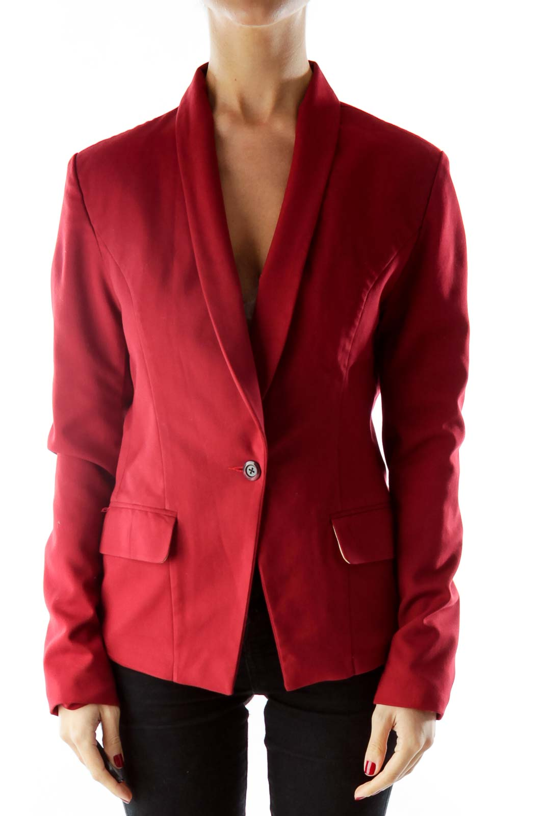 Red Single-Breasted Pocketed Blazer