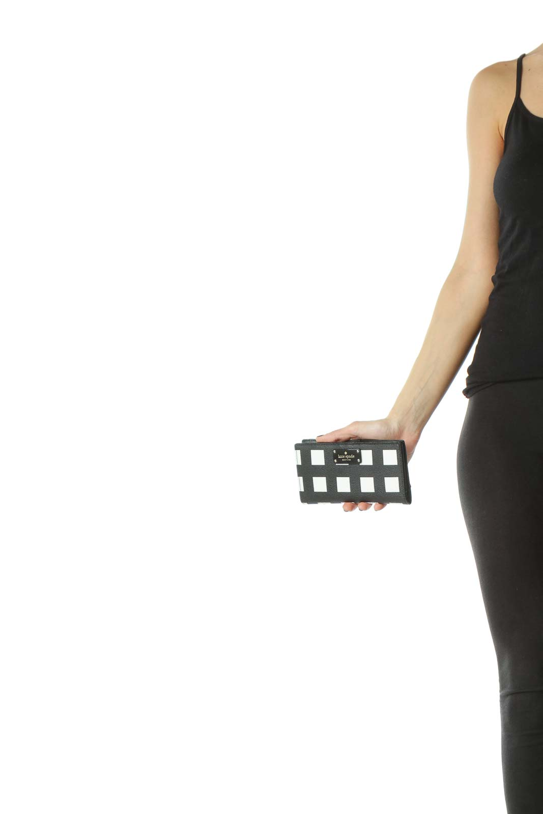 Black White Geometric Leather Clutch
