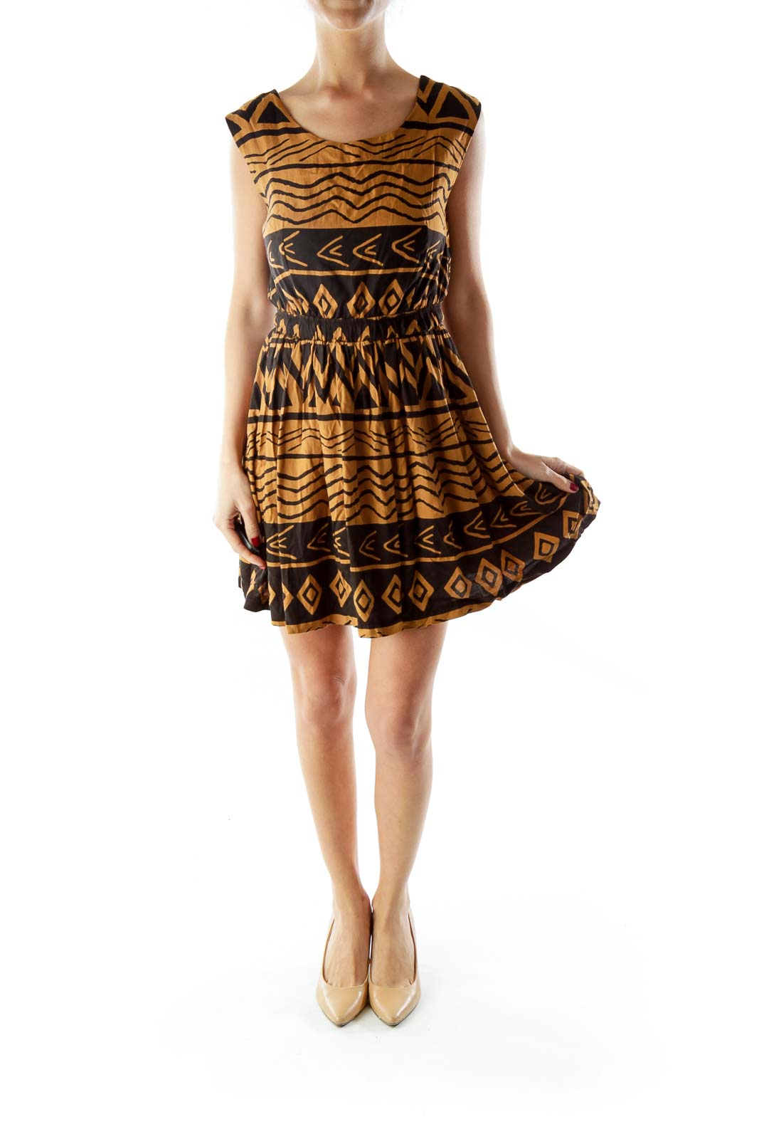 Brown Black Tribal Print Dress