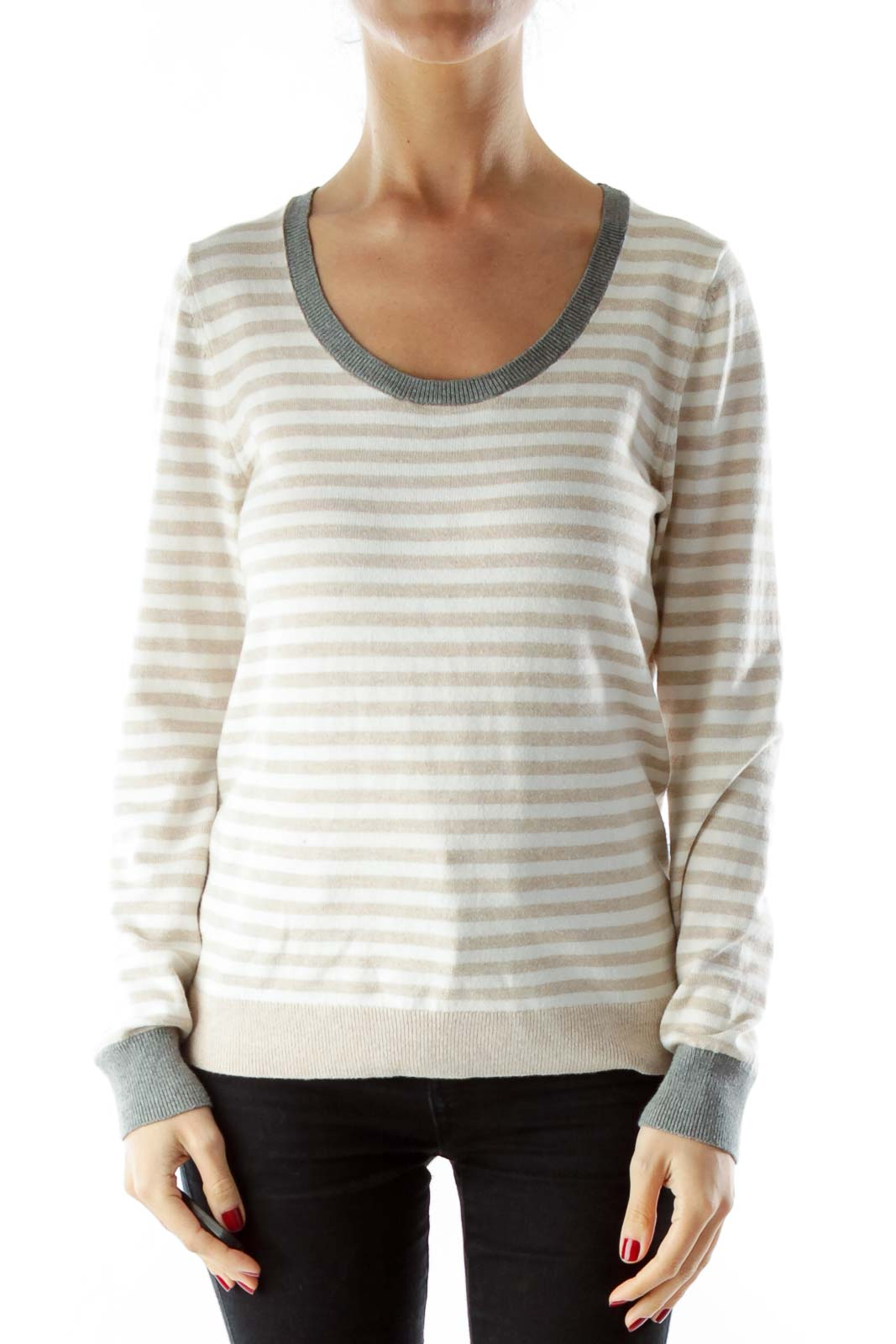 White and Brown striped sweater