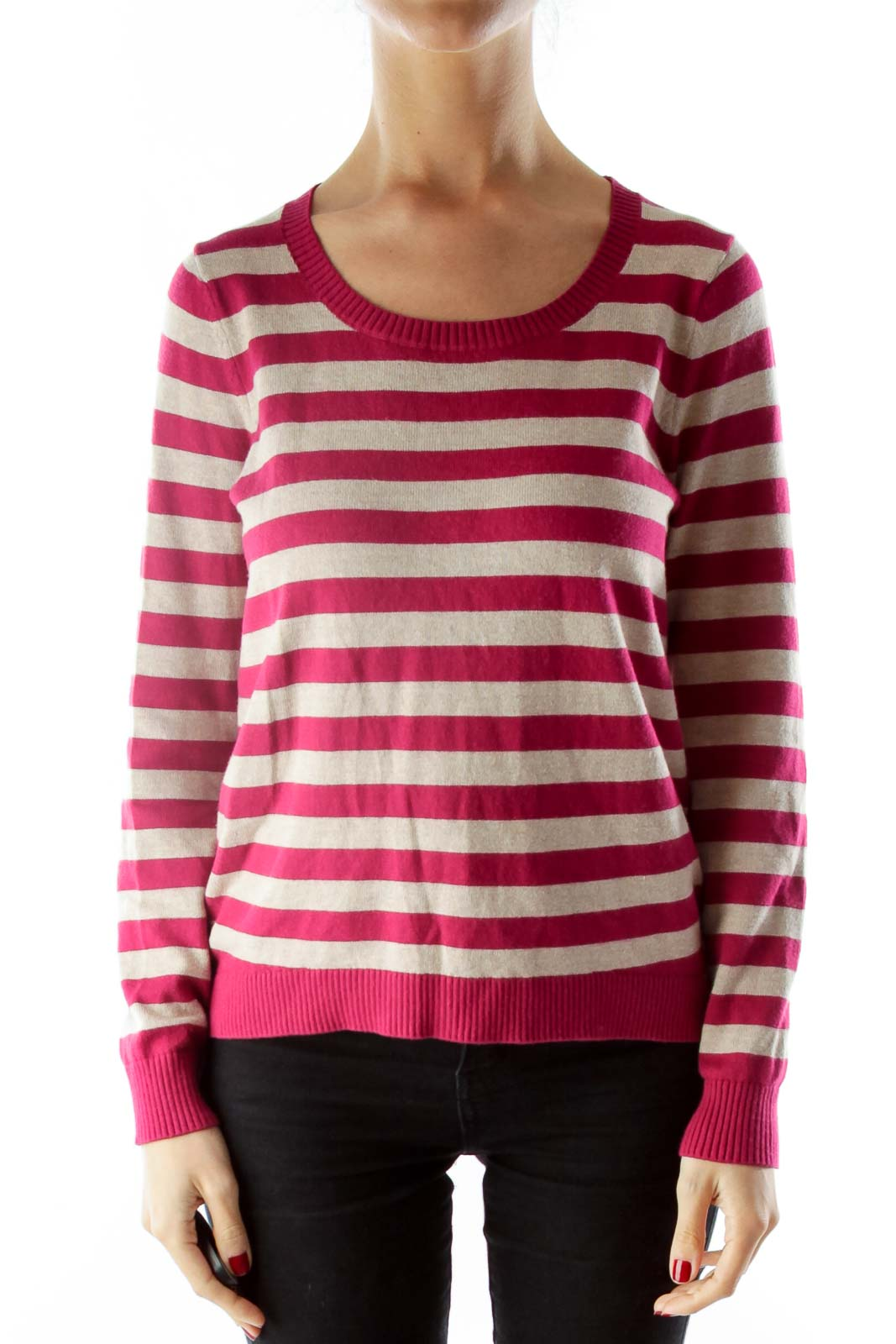 Red Brown Striped Knit Sweater