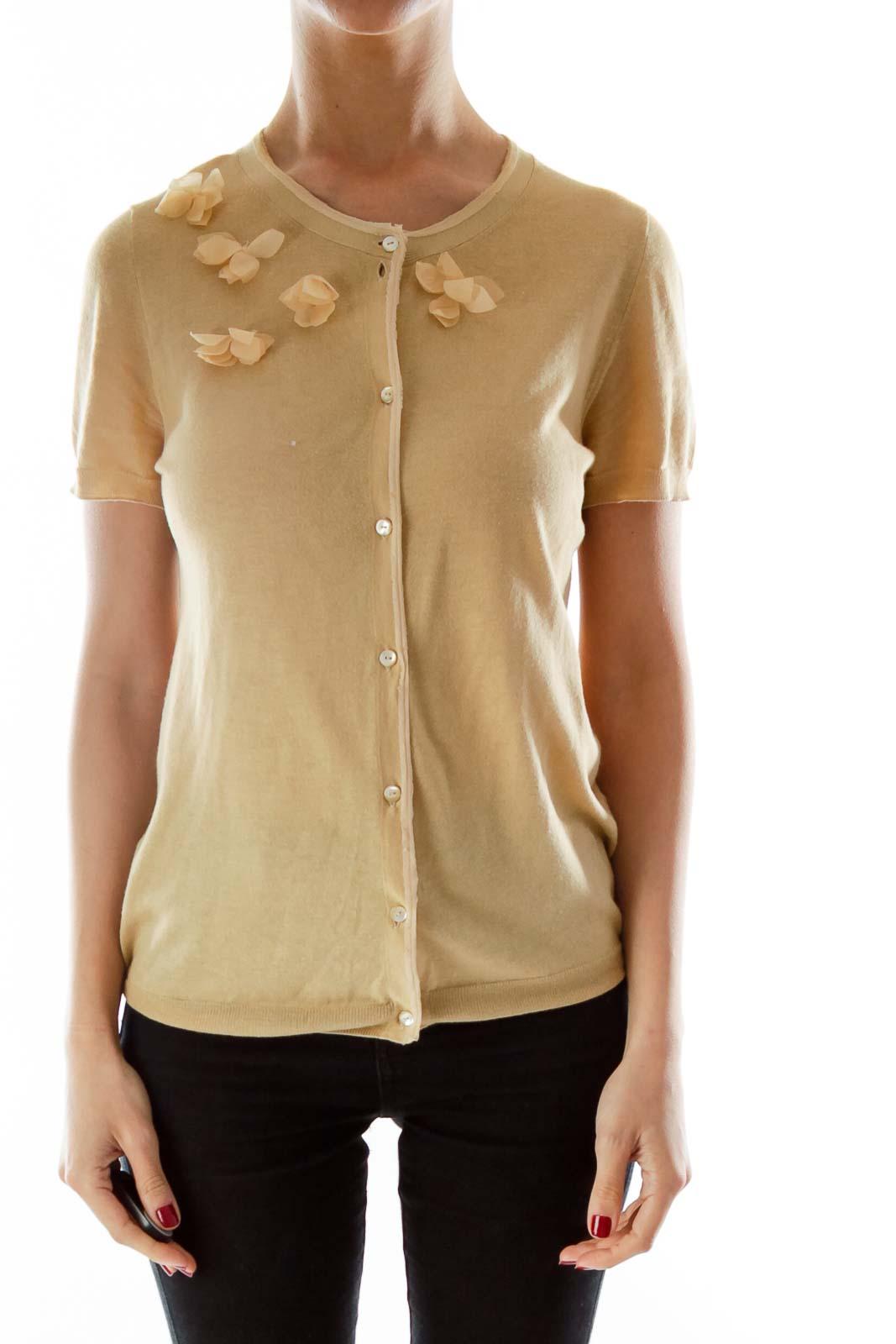 Beige Flower Textured Knit Top
