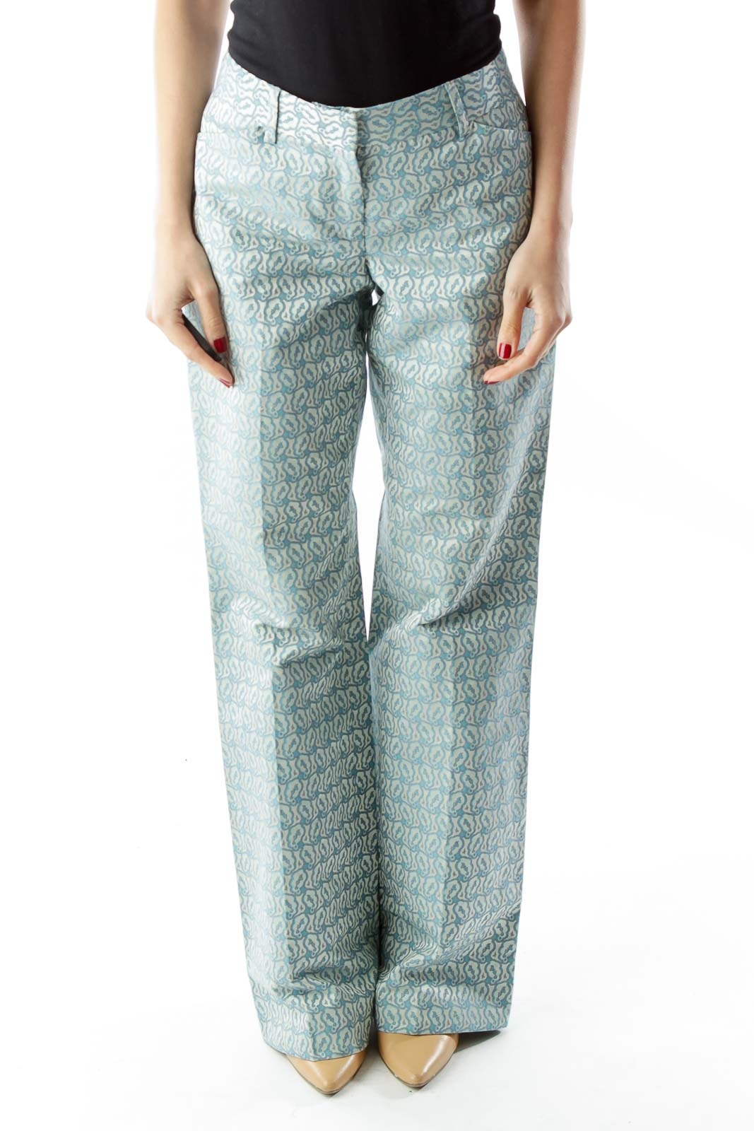 Blue Print Wide-Leg Pants