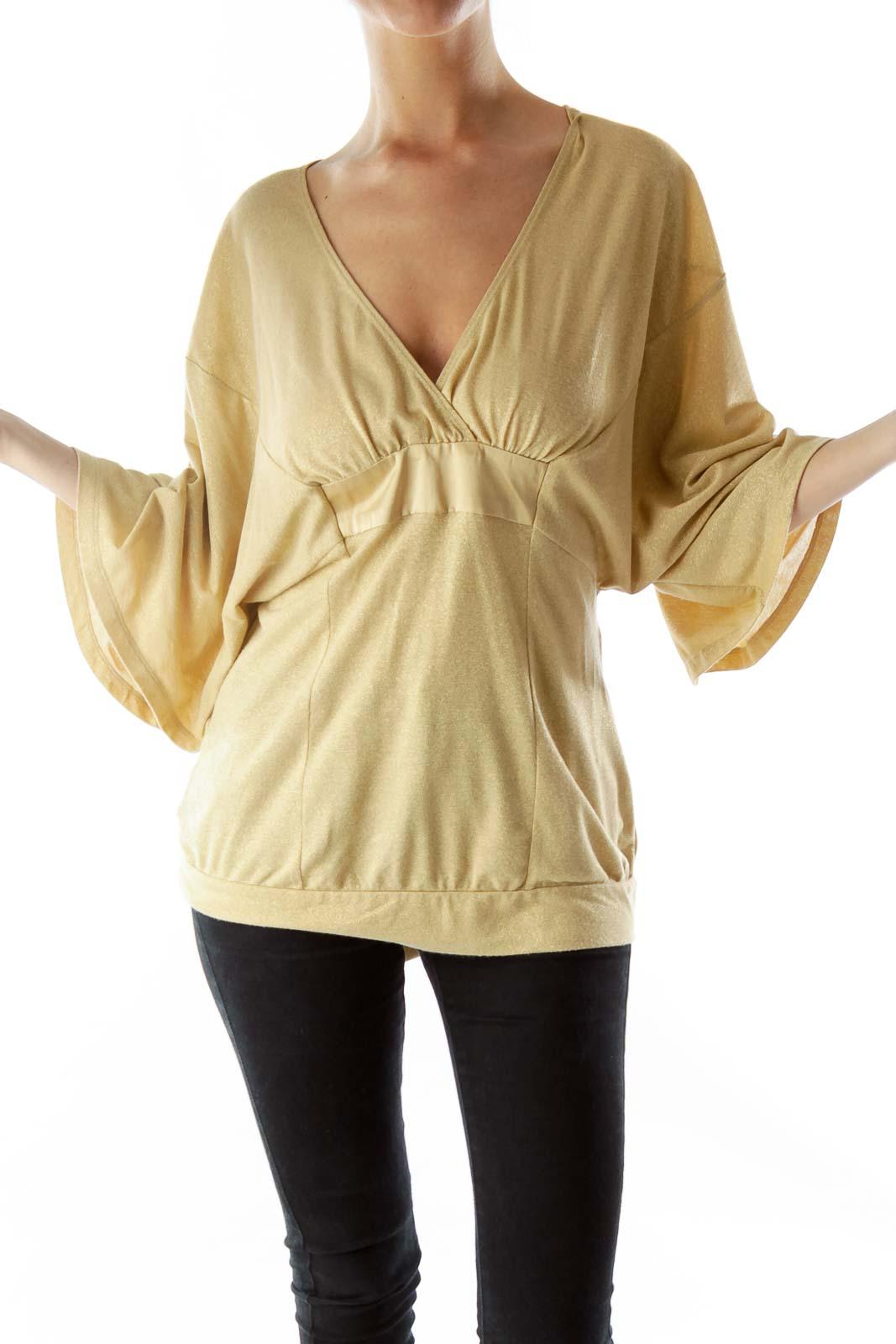 Gold Metallic Knit Top with Sash