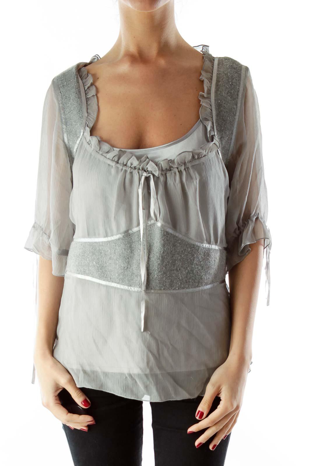 Gray Wool Silk Layered Blouse with Sash