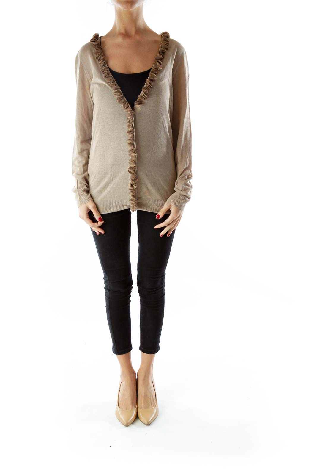 Brown Silk Linen Cardigan With Ruffle Details