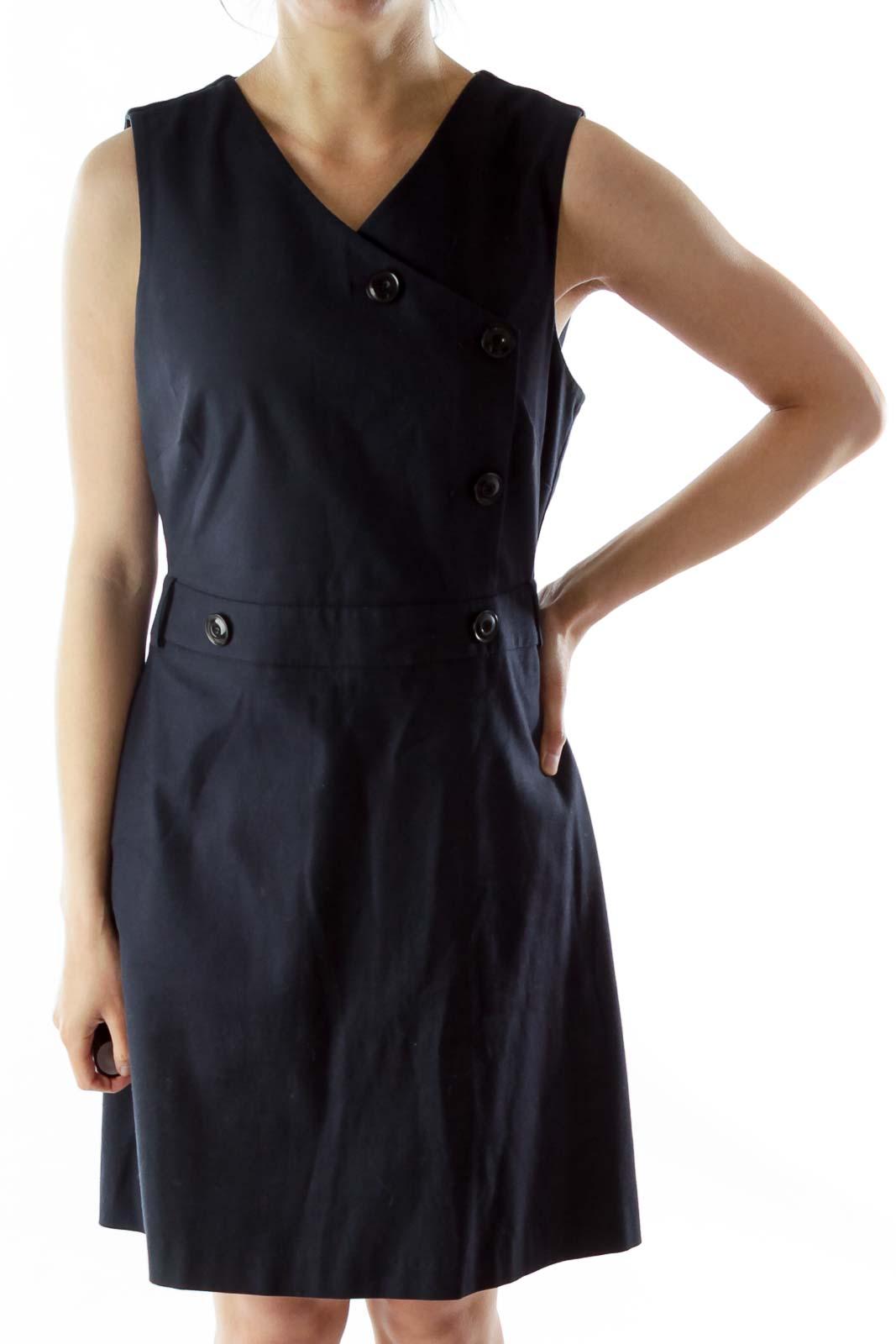 Navy Buttoned V-Neck Sleeveless A-Line Dress