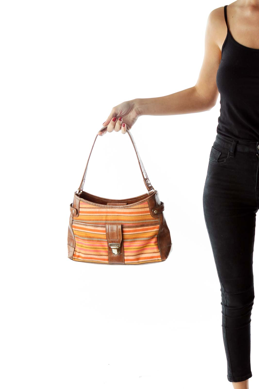 Brown Shoulder Bag with Color Stripes