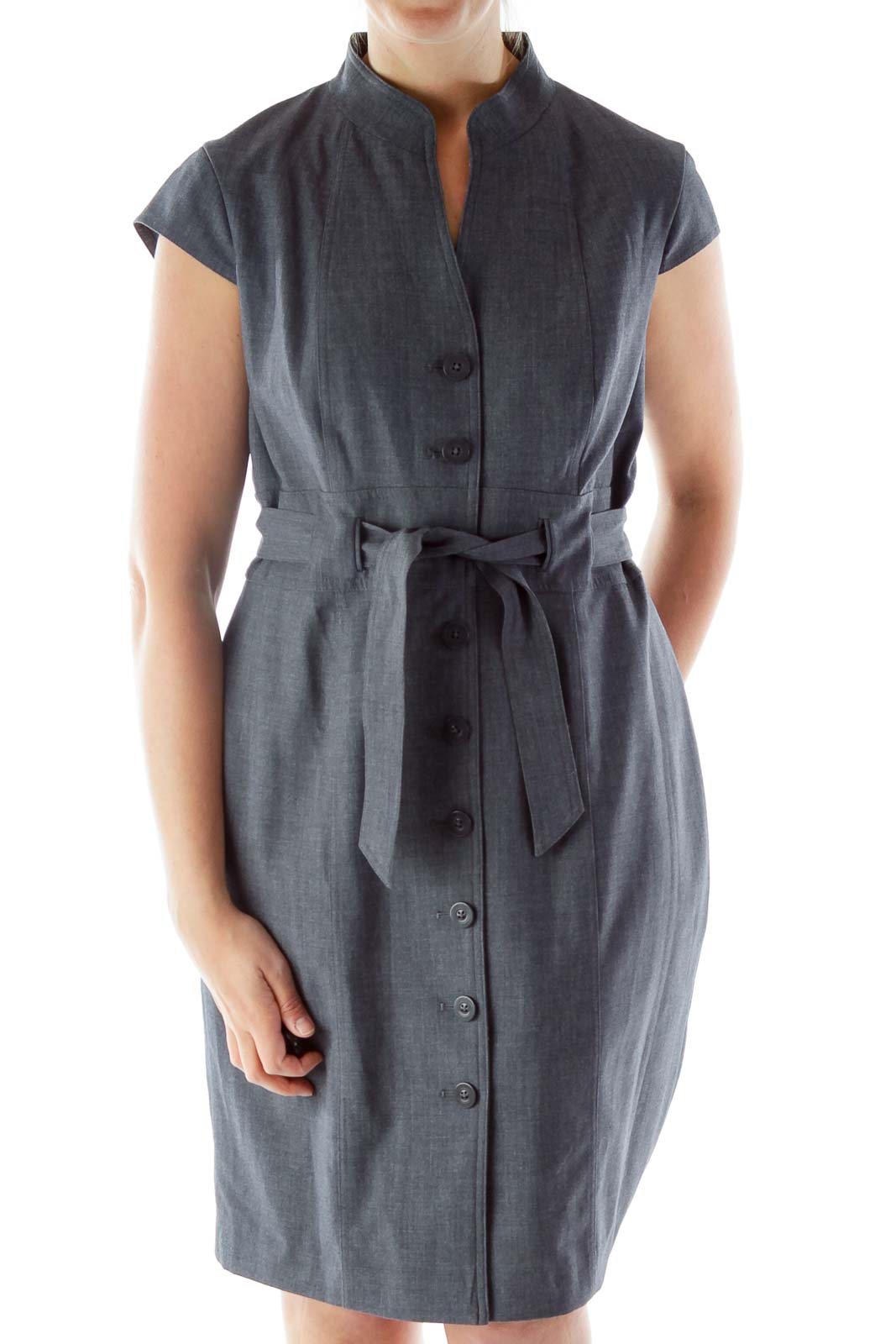 Gray Buttoned V-Neck Belted Work Dress