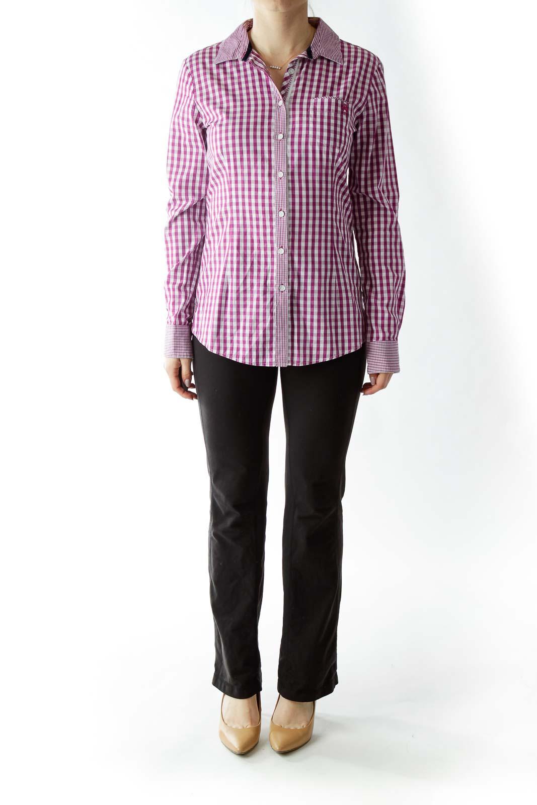 Purple White Gingham Shirt