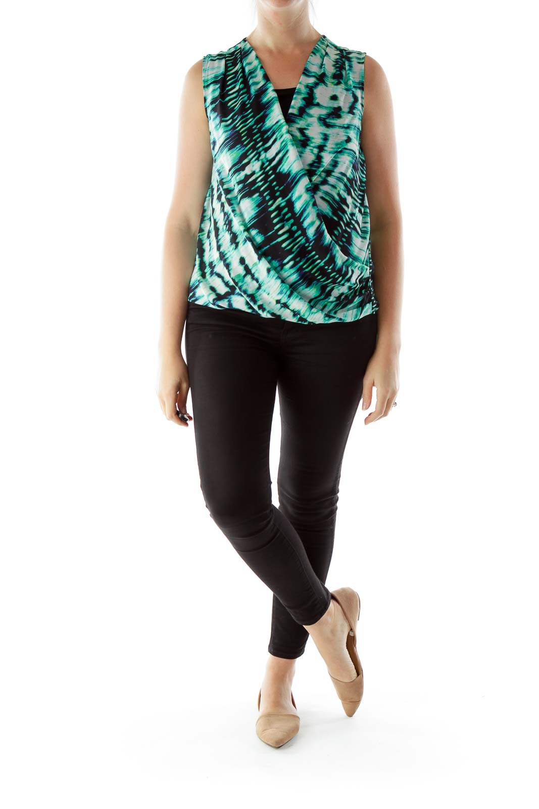 Green Black White Buttoned Print Wrap Blouse