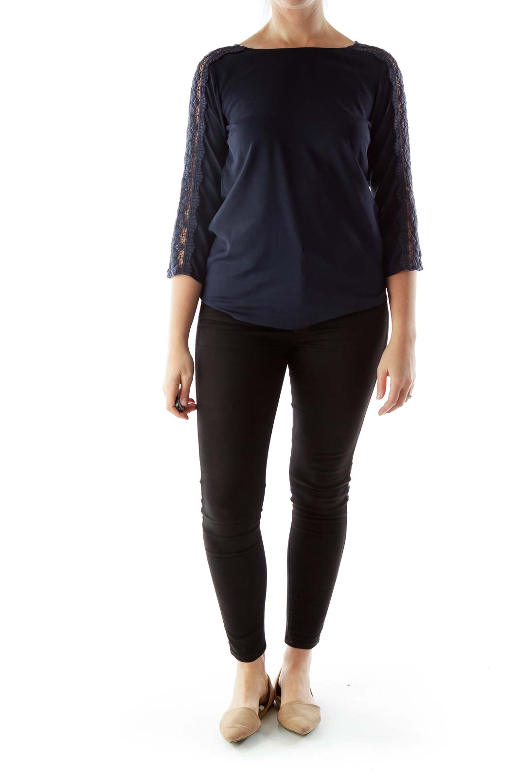 Navy Loose Blouse with Lace-Detailed Three-Quarter Sleeves