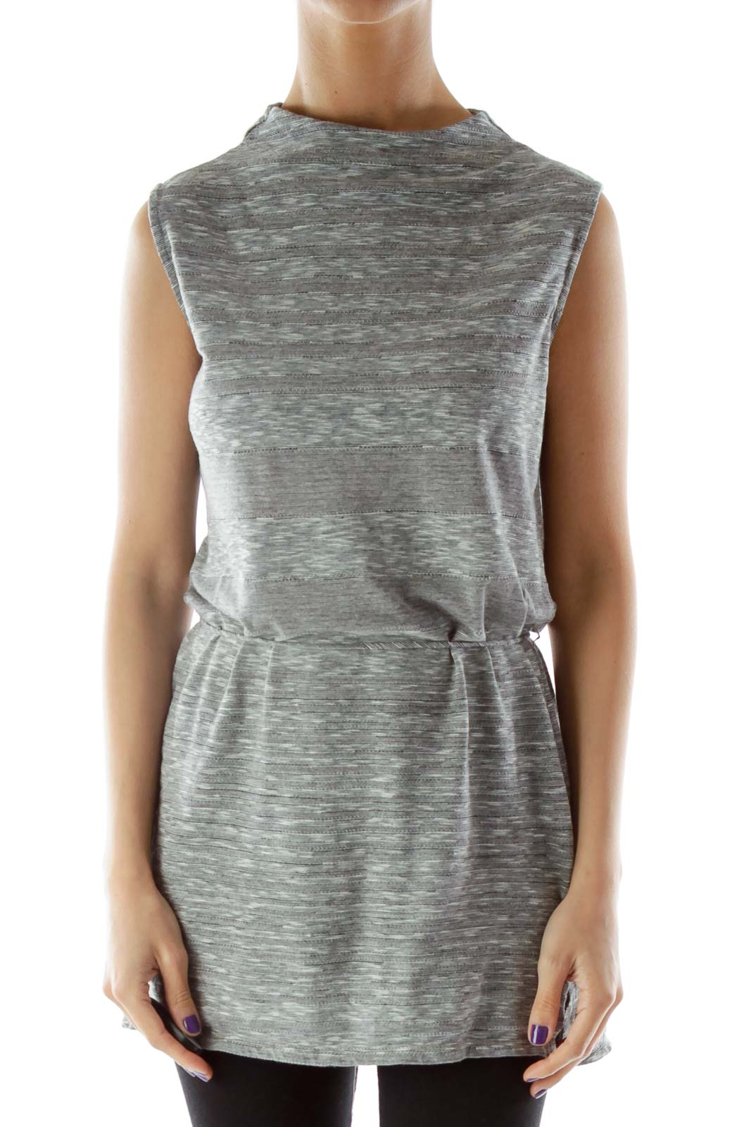 Gray Slitted Sleeveless Blouse with High Neck