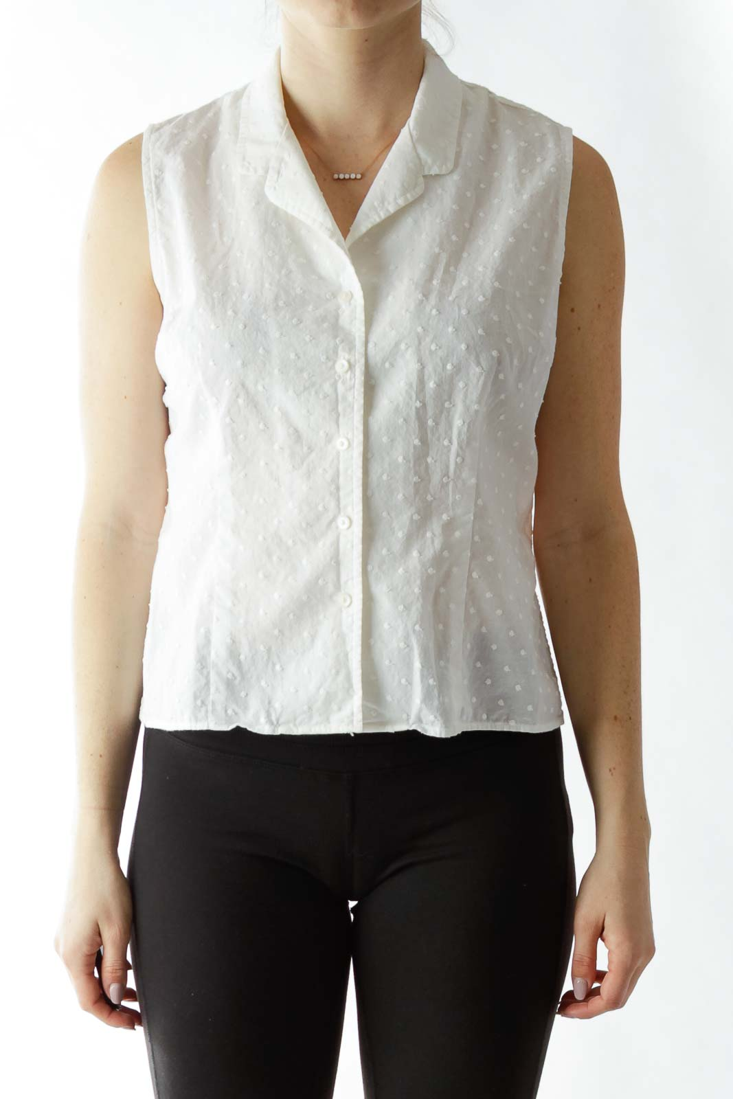 White Sleeveless Blouse with Textured Dot Details