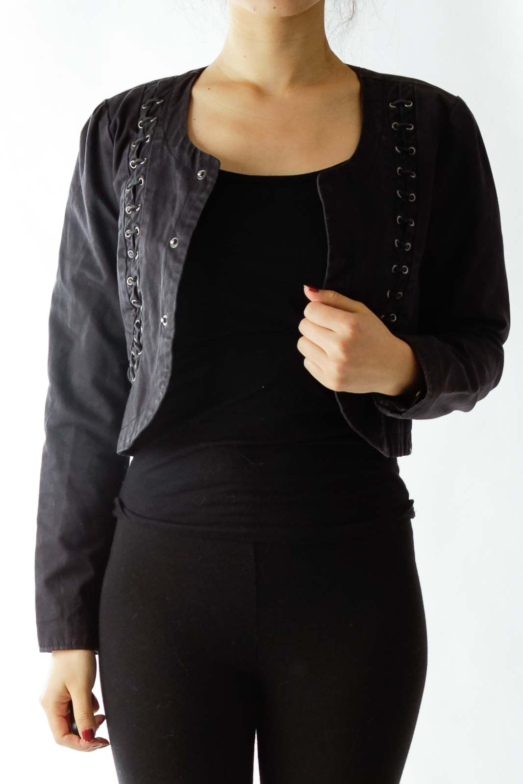 Black Buttoned Cropped Jacket with String Details