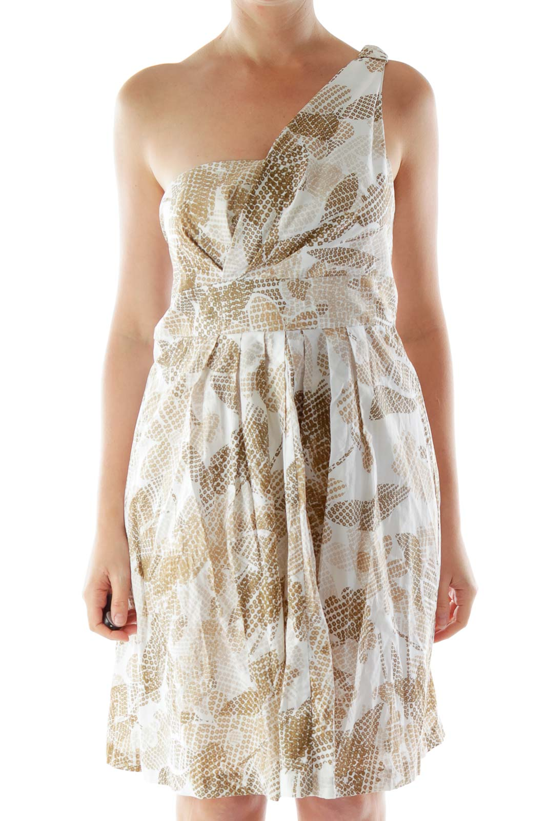 Brown Beige Cream One-Shoulder Flared Dress