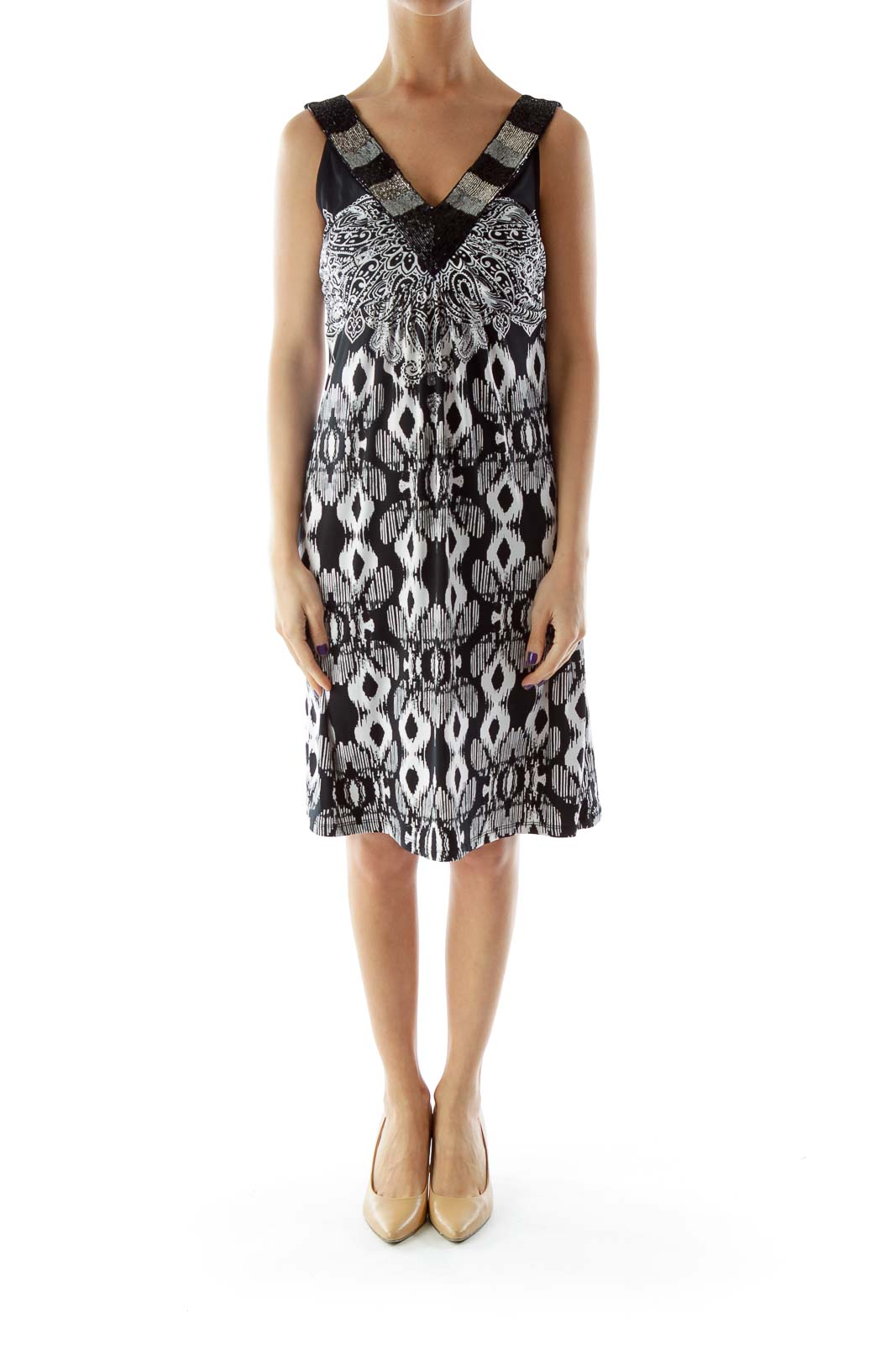 Black and White Print with Beaded Neckline