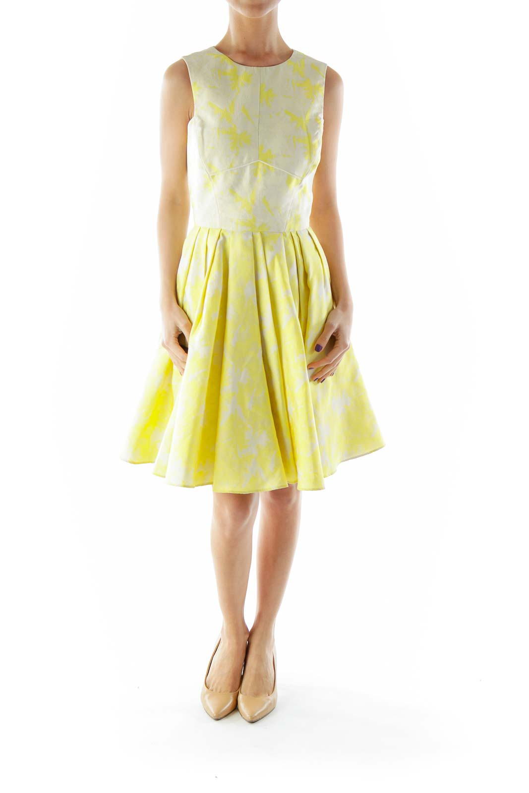 Cream Yellow Flared Floral Dress