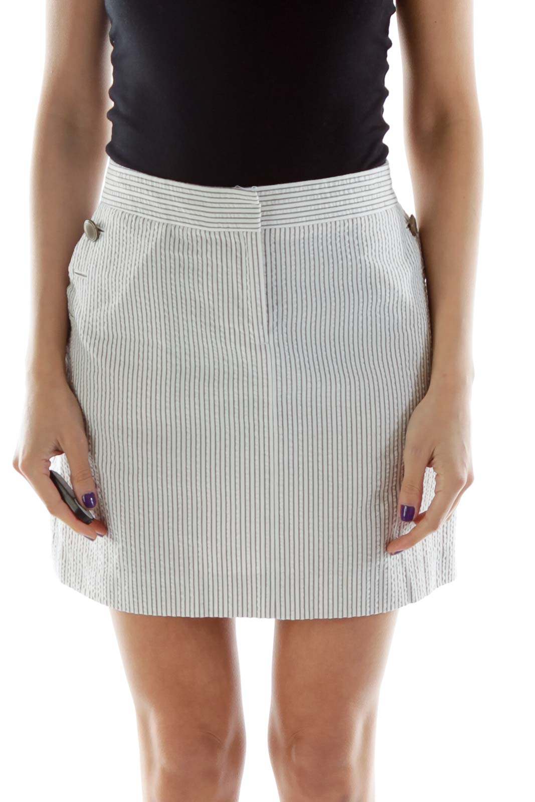Gray White Pocketed Mini Skirt with Button Details
