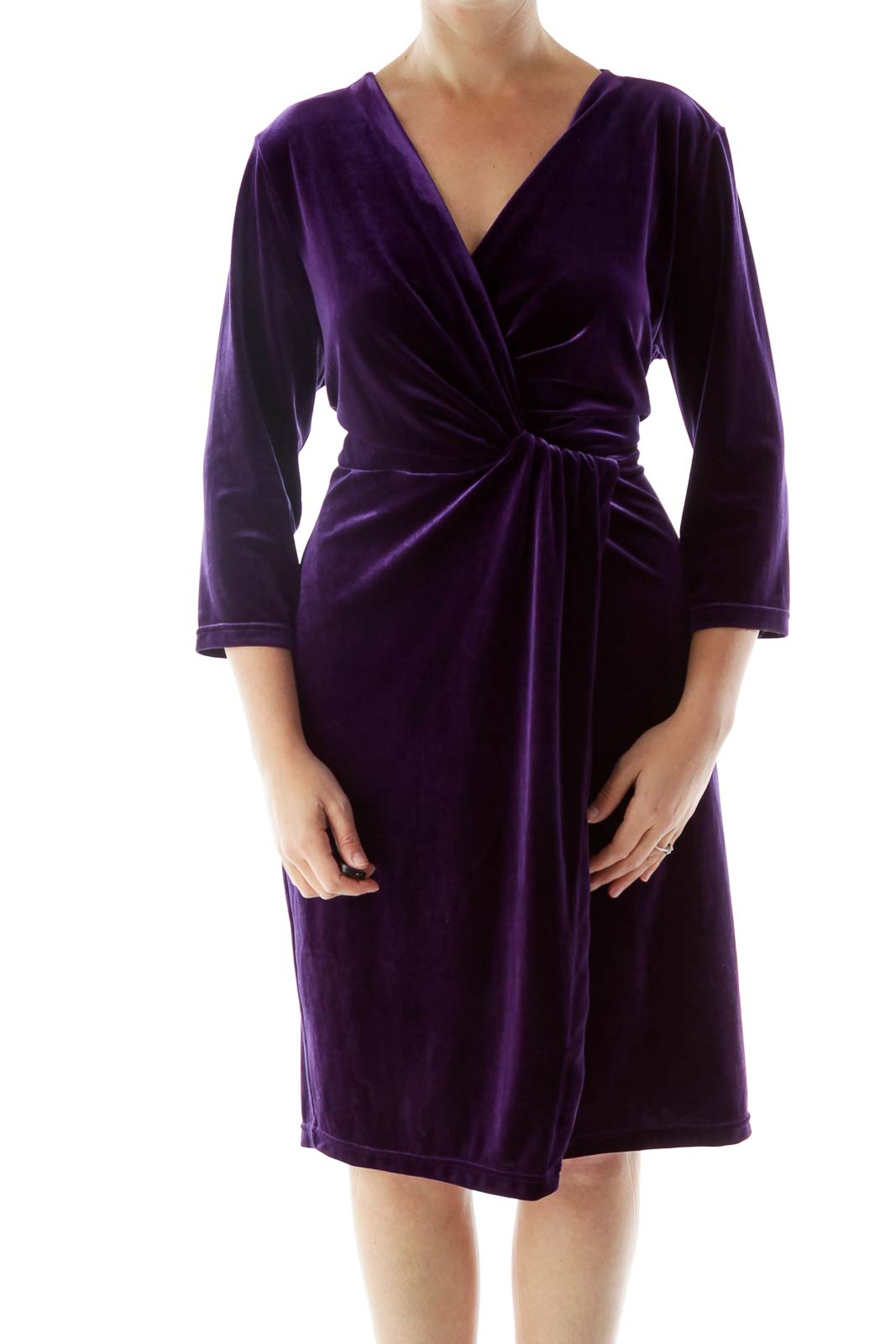 Purple Velvet Side Slit Dress