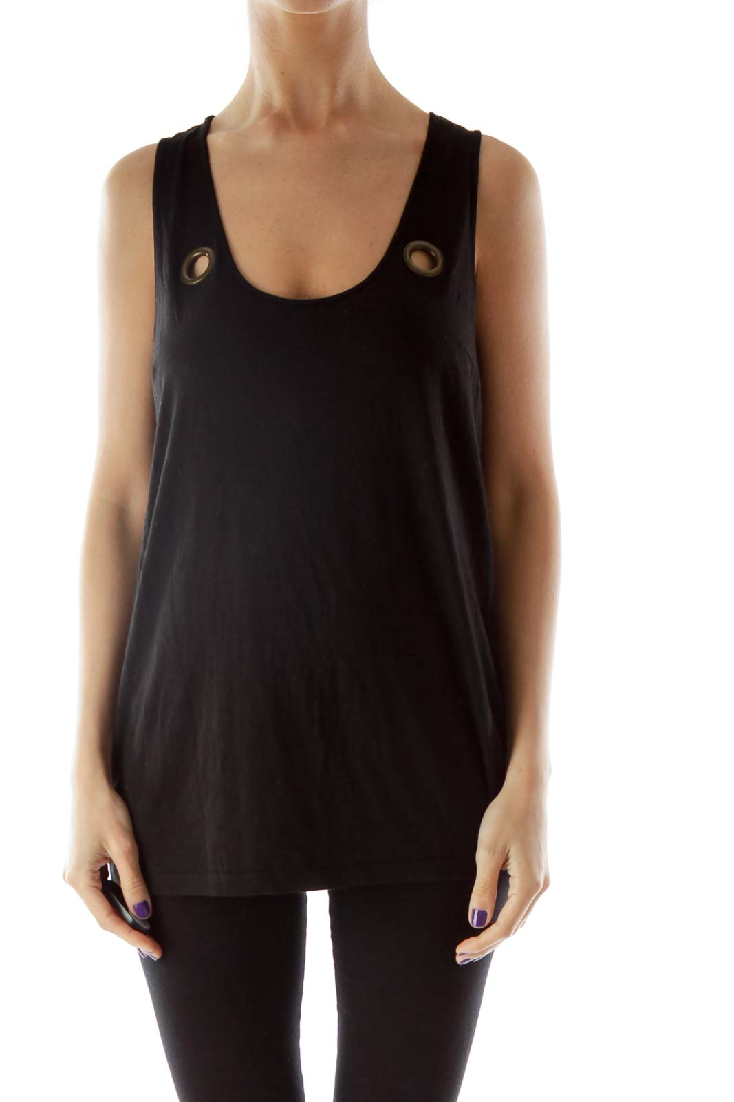 Black Tank Top with Hole Detailing