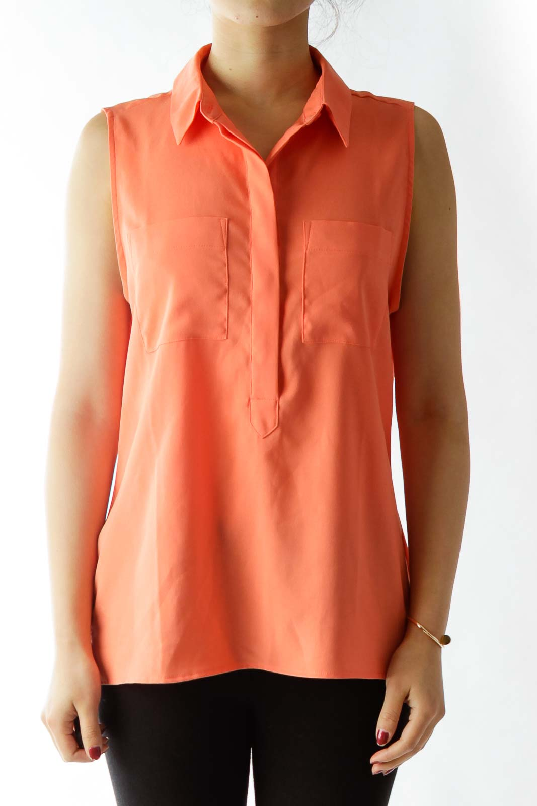 Orange Pocketed Tank Top