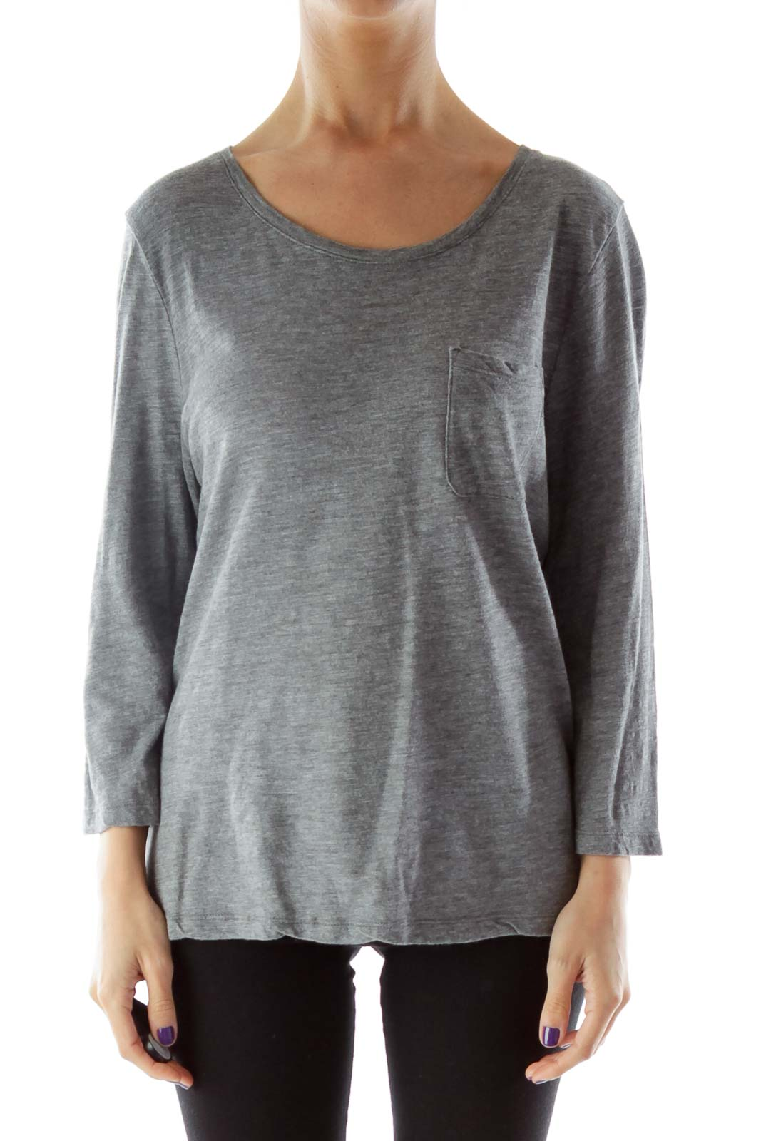 Gray 3/4 Sleeve Top