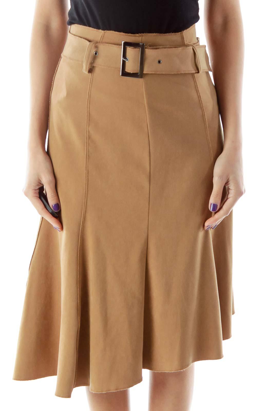 Belted A Line Beige Skirt