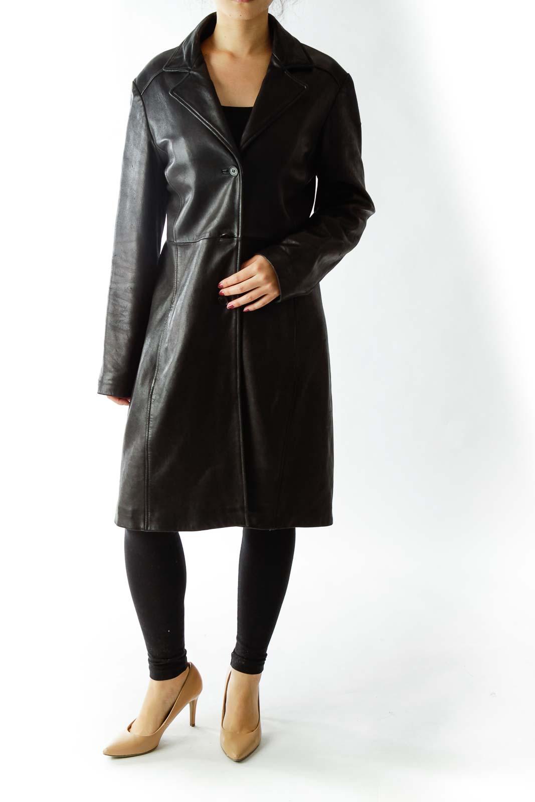 Black Singled Breasted Leather Coat