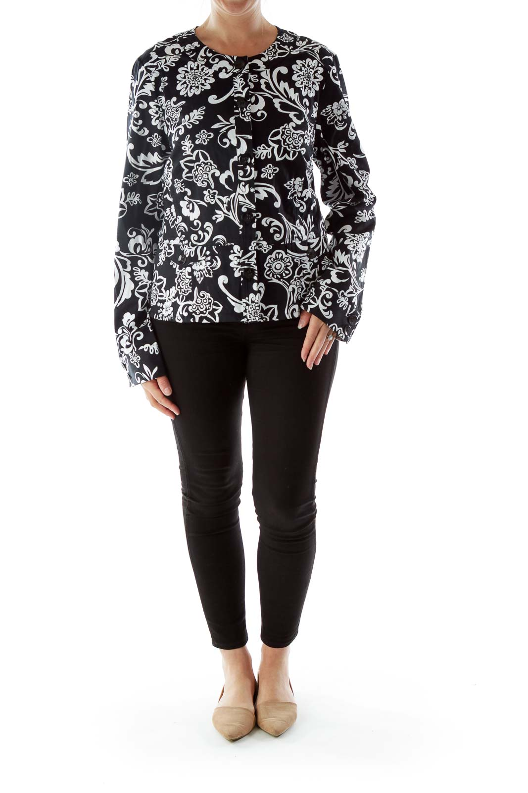 Black and White Printed Long Sleeve