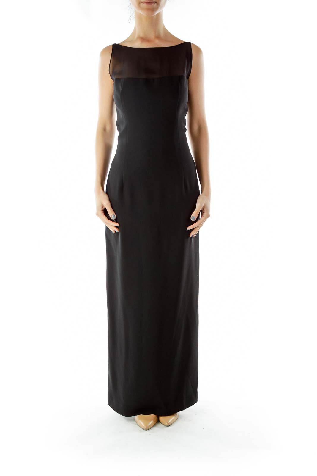Black Evening Gown with Sheer Detail