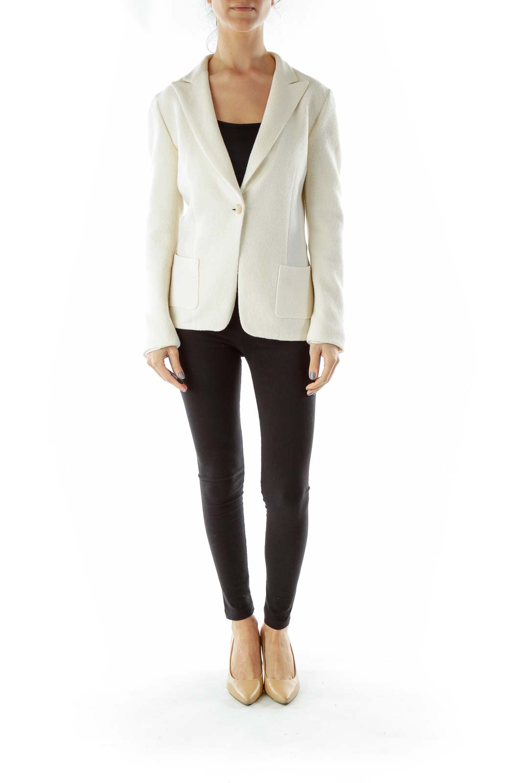 Cream Single-Breasted Wool Blazer
